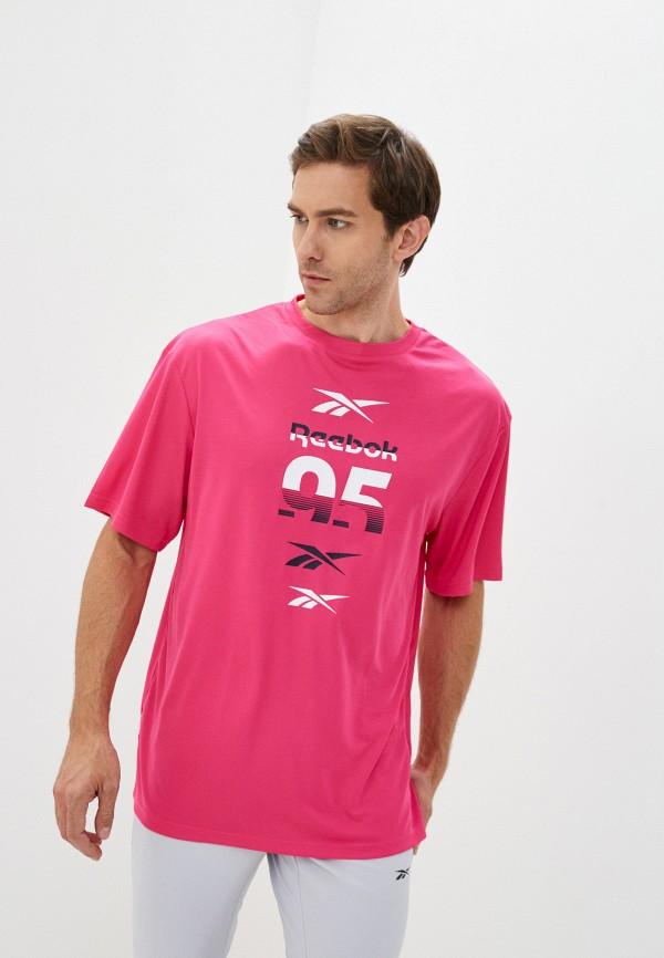 мужская спортивные футболка reebok, розовая