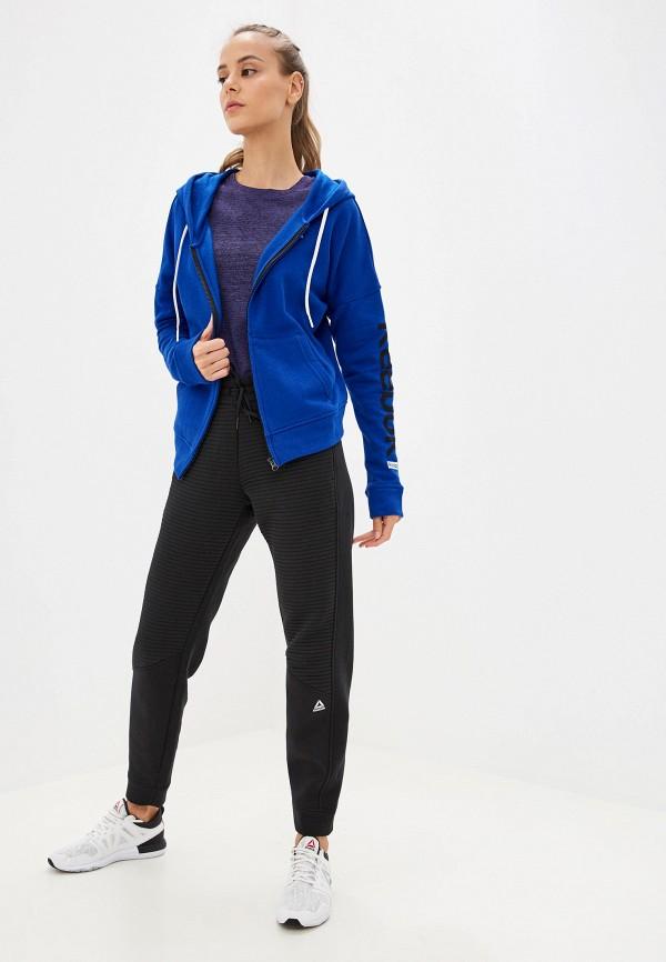Фото 2 - женскую толстовку или олимпийку Reebok синего цвета