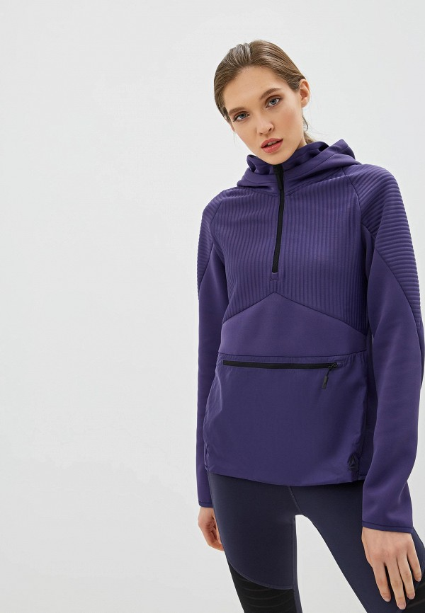 женские худи reebok, фиолетовые