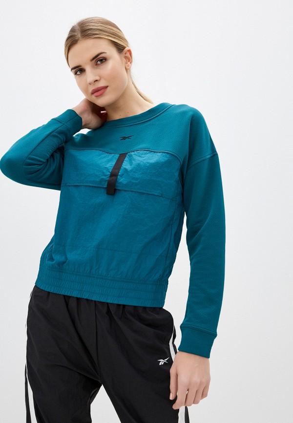женский свитшот reebok, зеленый