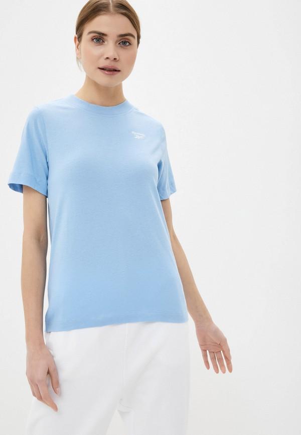 женская спортивные футболка reebok, голубая