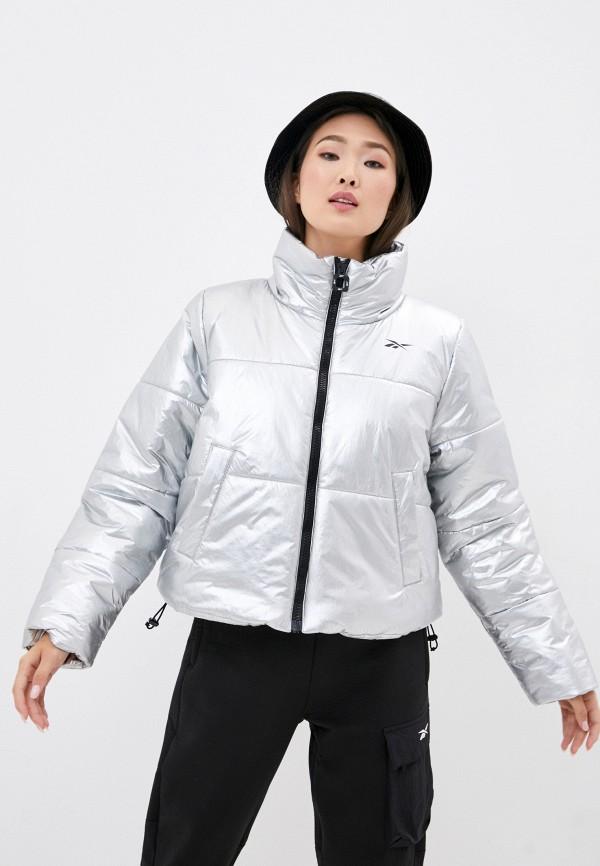 женская спортивные куртка reebok, серебряная