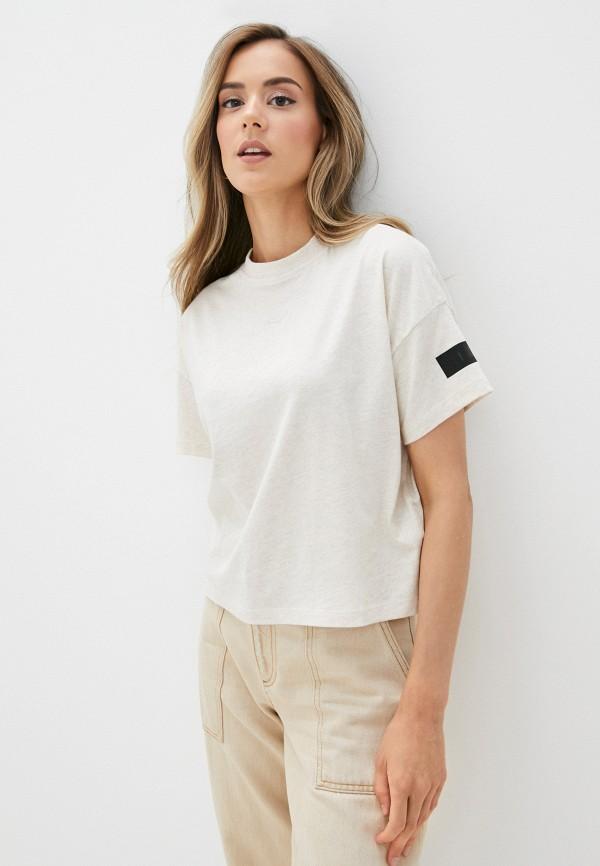 женская спортивные футболка reebok, бежевая