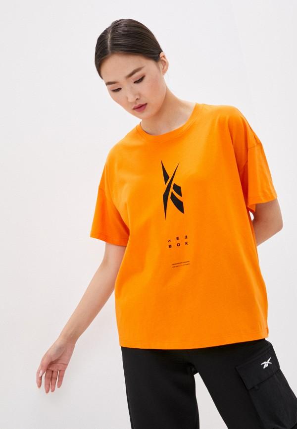 женская спортивные футболка reebok, оранжевая