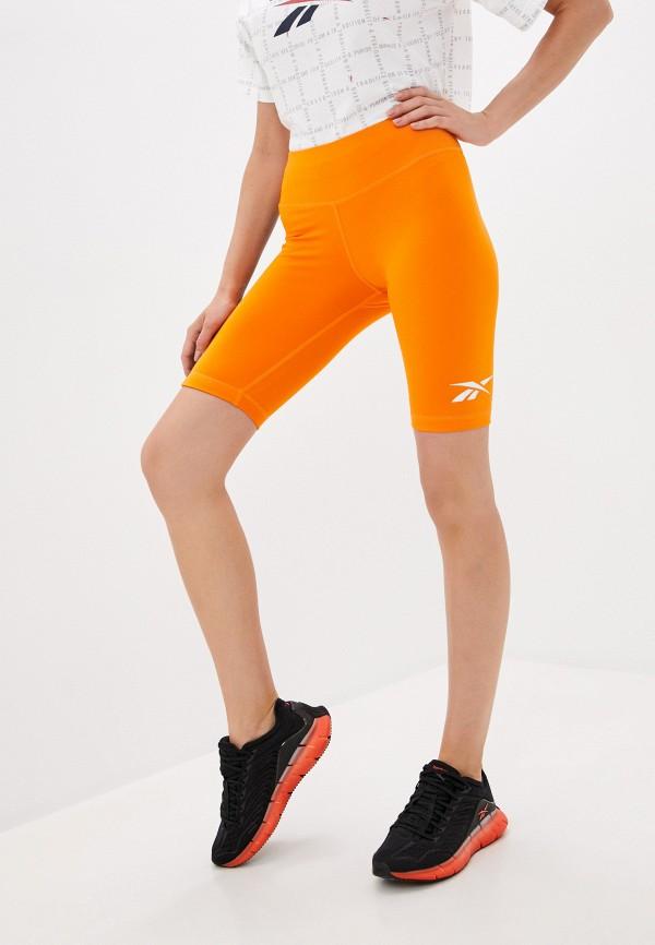 женские спортивные шорты reebok, оранжевые