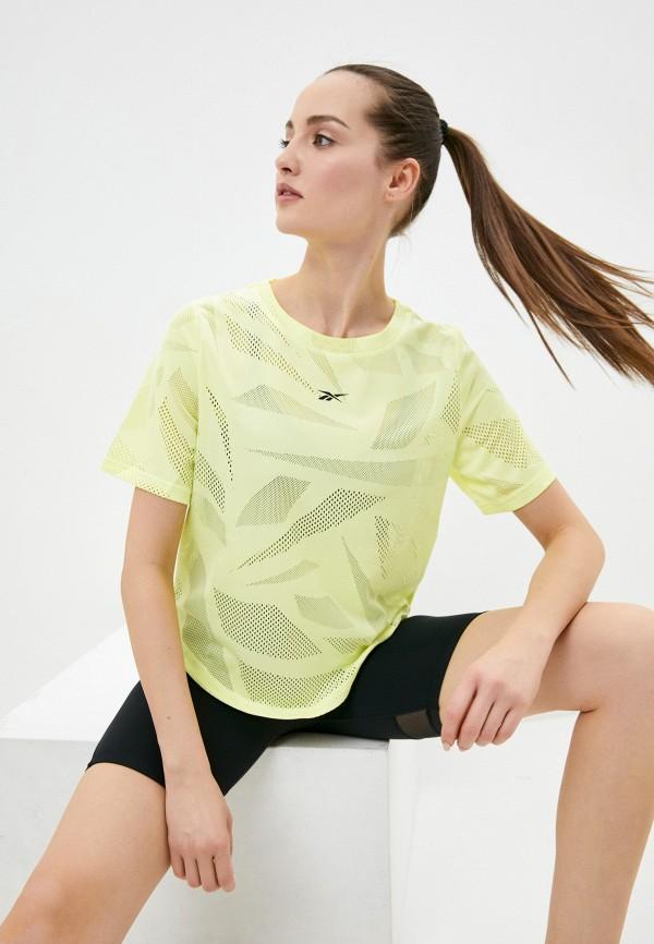 женская спортивные футболка reebok, желтая