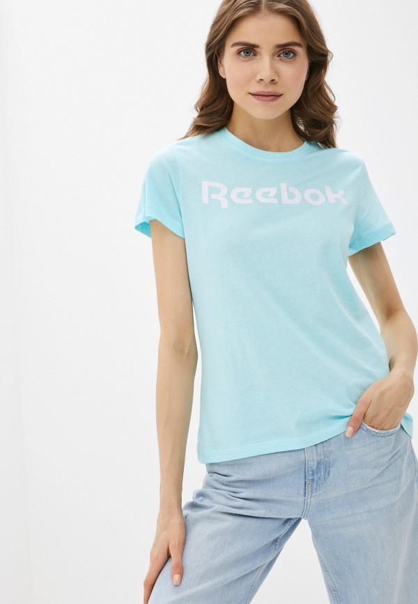 женская спортивные футболка reebok, бирюзовая