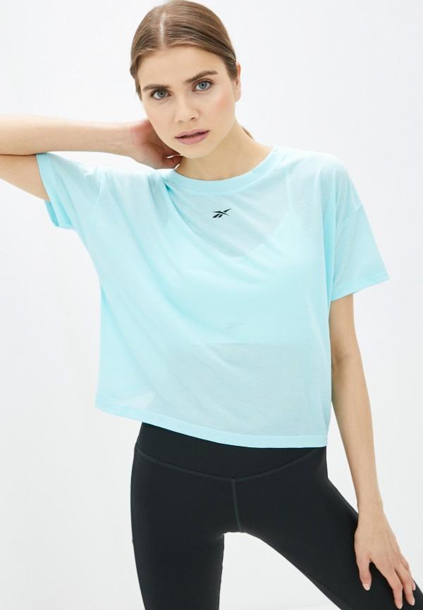 женская футболка reebok, голубая