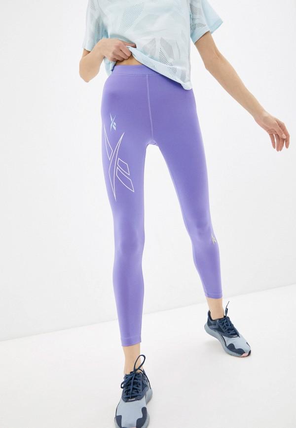 женские спортивные леггинсы reebok, фиолетовые