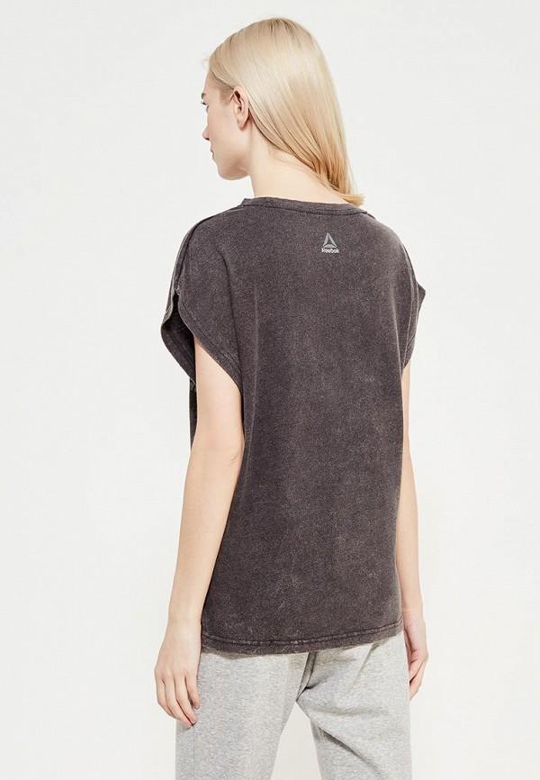 Фото 3 - женскую футболку Reebok серого цвета