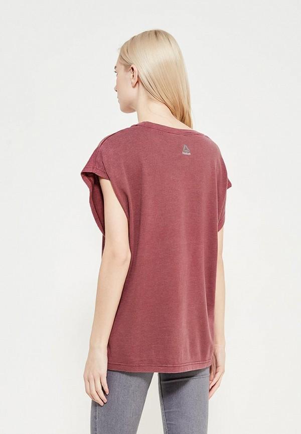 Фото 3 - женскую футболку Reebok бордового цвета