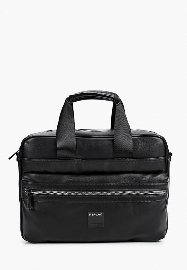 мужская сумка с ручками replay, черная