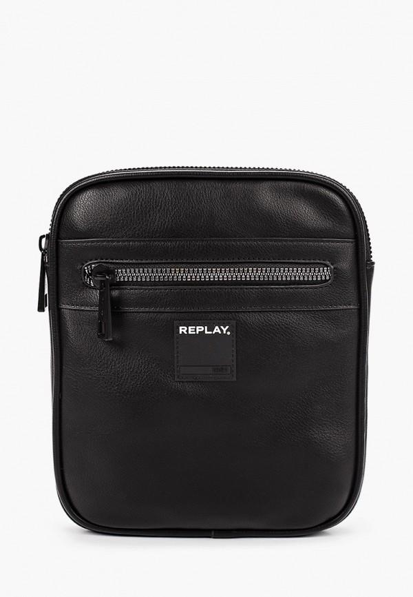 мужская сумка через плечо replay, черная
