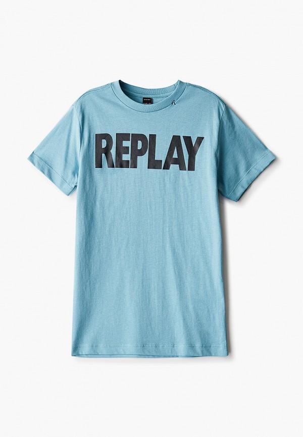 футболка с коротким рукавом replay для мальчика, голубая