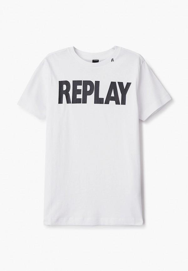 футболка с коротким рукавом replay для мальчика, белая