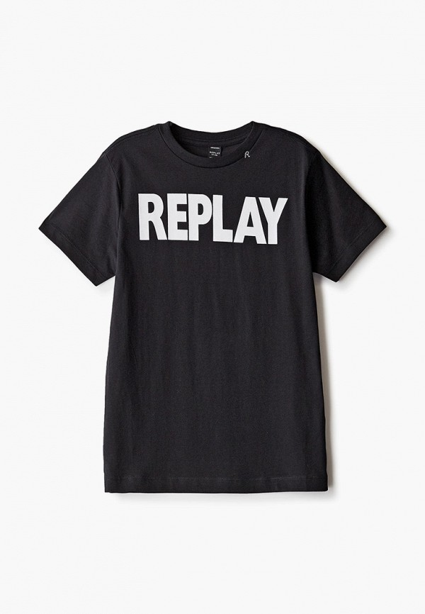 футболка с коротким рукавом replay для мальчика, черная