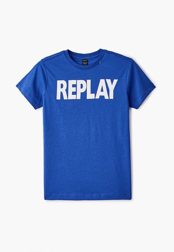 футболка с коротким рукавом replay для мальчика, синяя