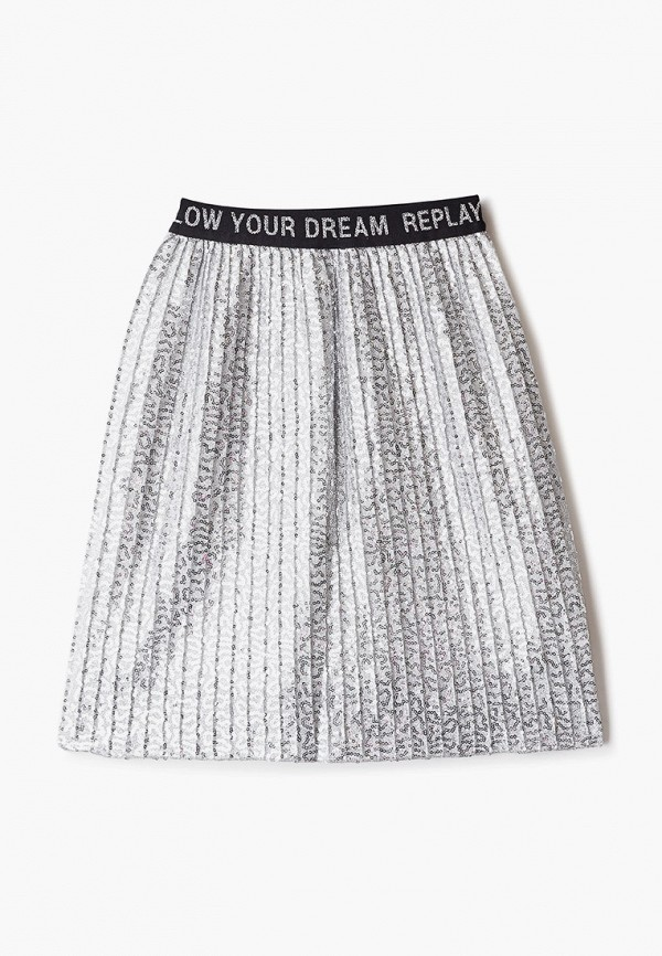 юбка replay для девочки, серебряная
