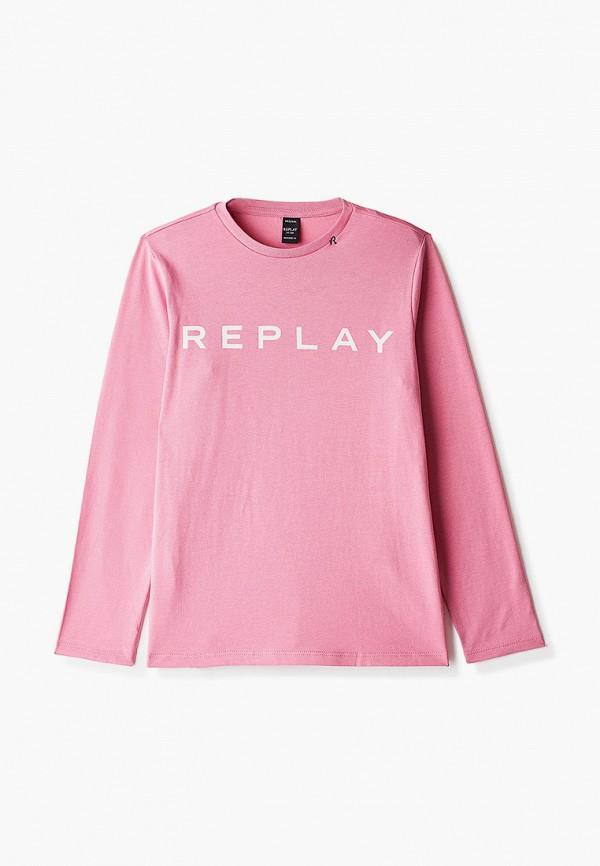 лонгслив replay для девочки, розовый