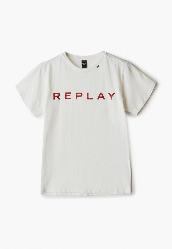 футболка с коротким рукавом replay для девочки, белая