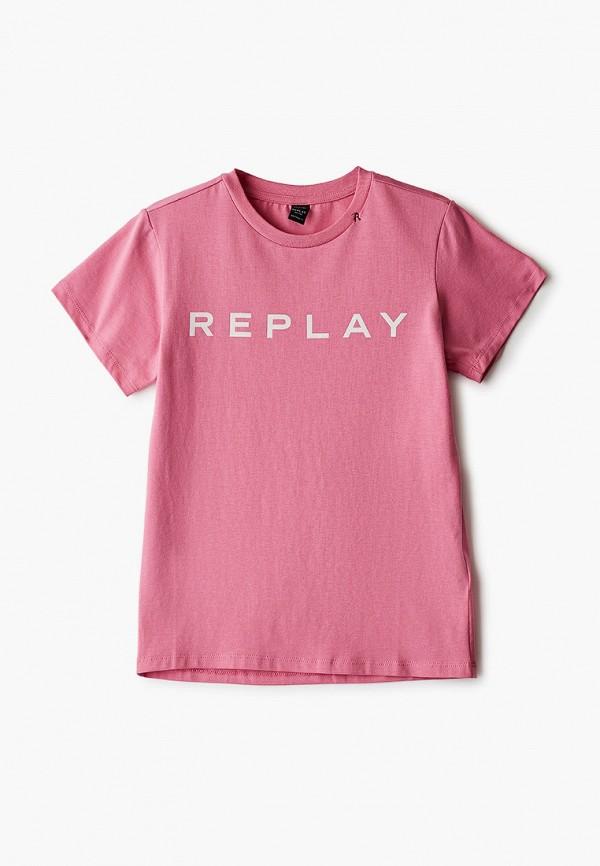 футболка с коротким рукавом replay для девочки, розовая