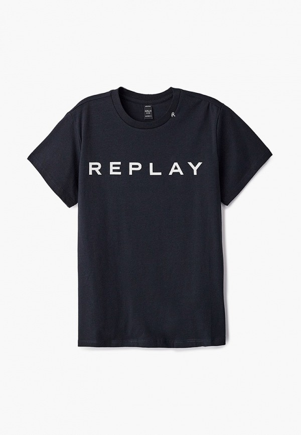 футболка с коротким рукавом replay для девочки, черная