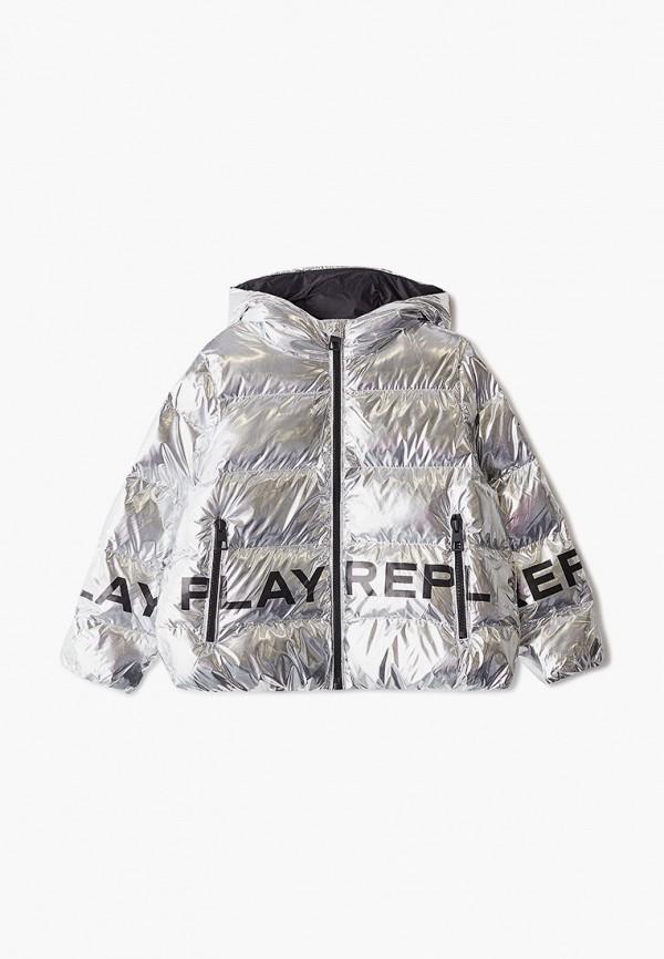 куртка replay для девочки, серебряная