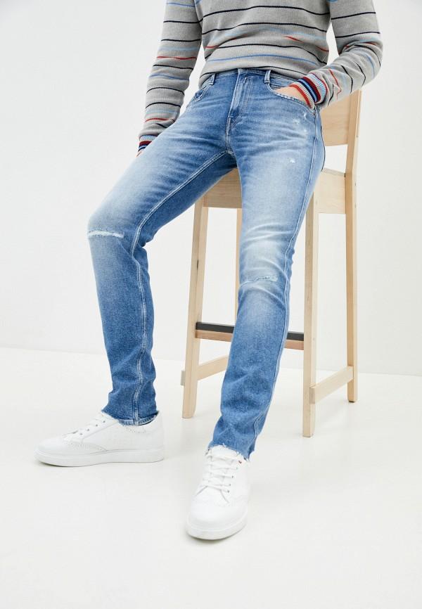 мужские зауженные джинсы replay, синие