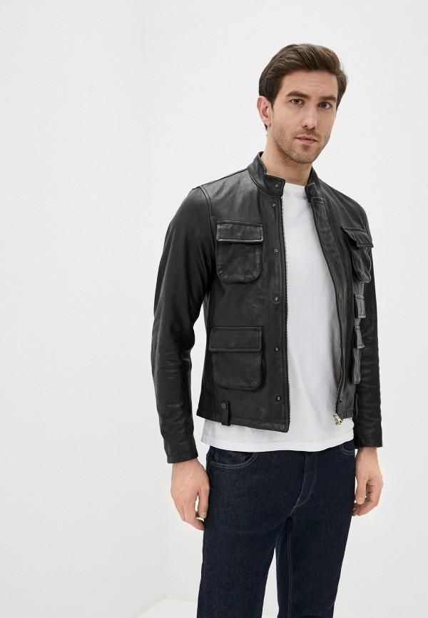 мужская кожаные куртка replay, черная