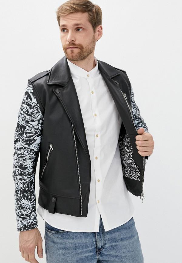 мужская куртка косухи replay, черная