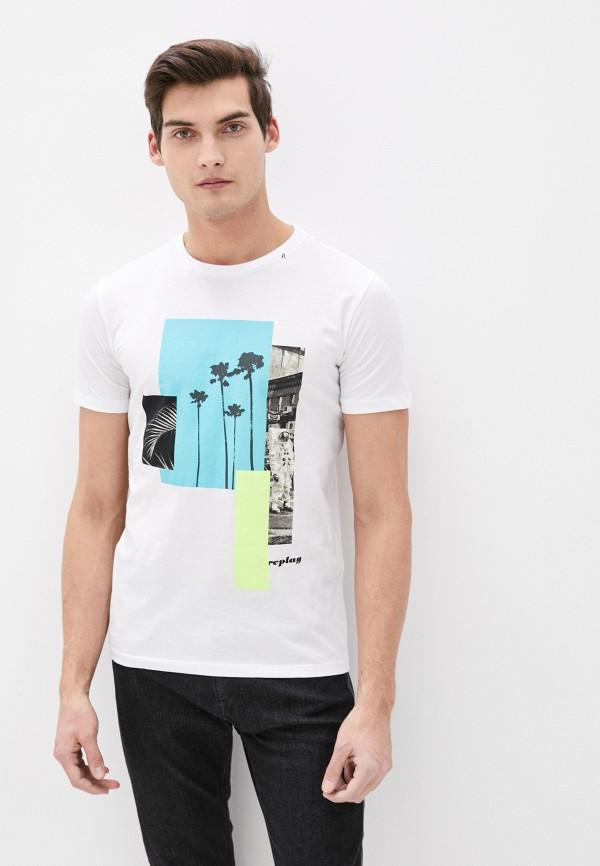 мужская футболка с коротким рукавом replay, белая