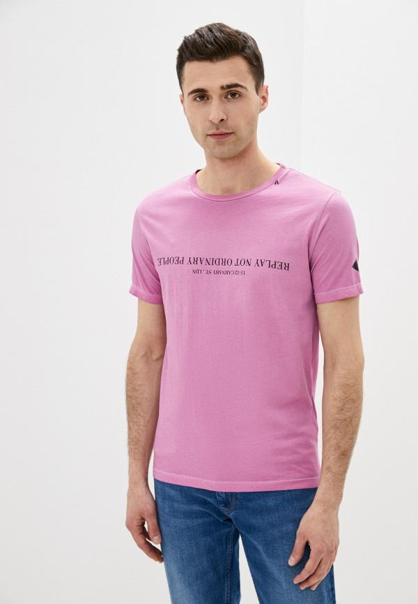 мужская футболка с коротким рукавом replay, розовая