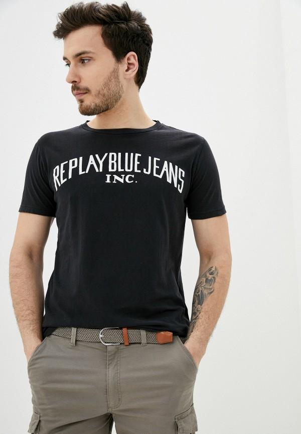 мужская футболка с коротким рукавом replay, черная