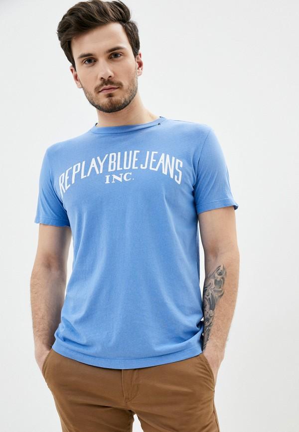 мужская футболка с коротким рукавом replay, голубая
