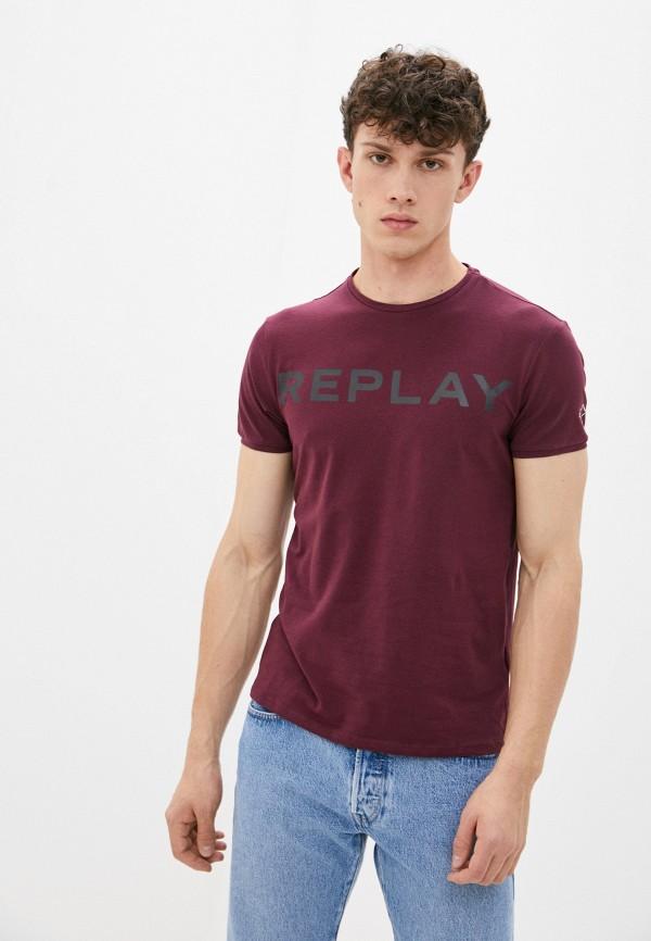 мужская футболка с коротким рукавом replay, бордовая