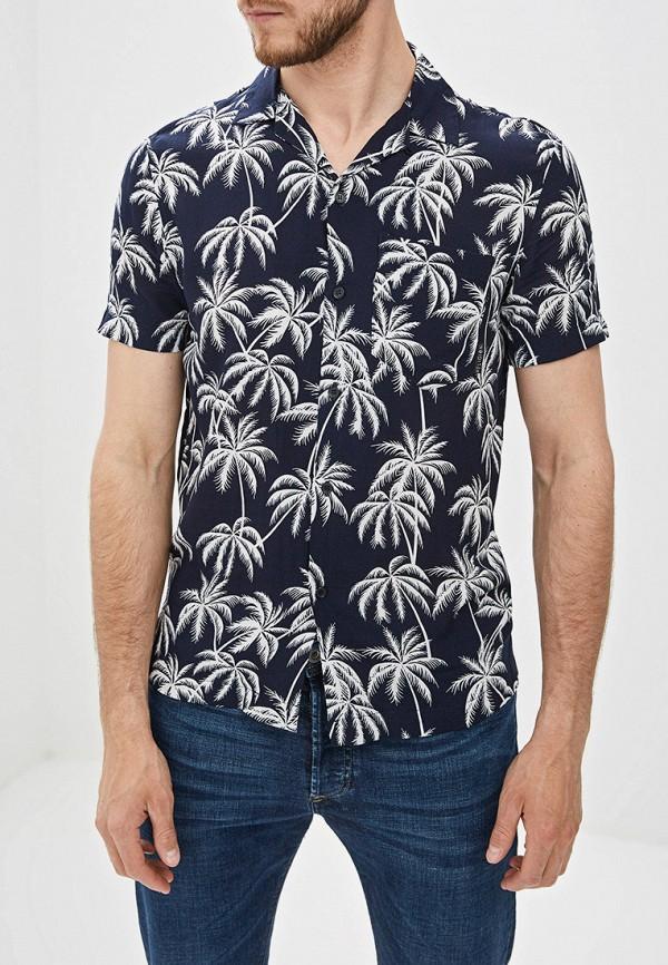 мужская рубашка с коротким рукавом religion, синяя