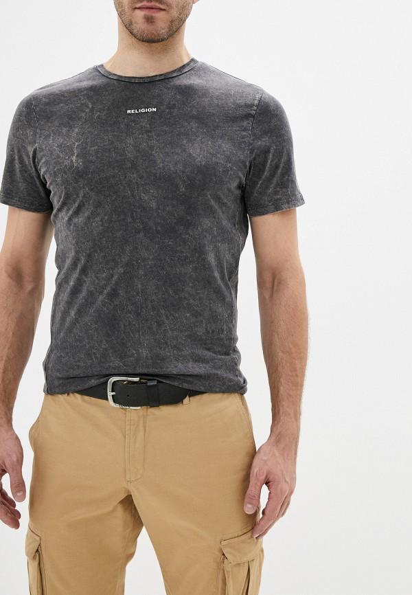 мужская футболка с коротким рукавом religion, серая