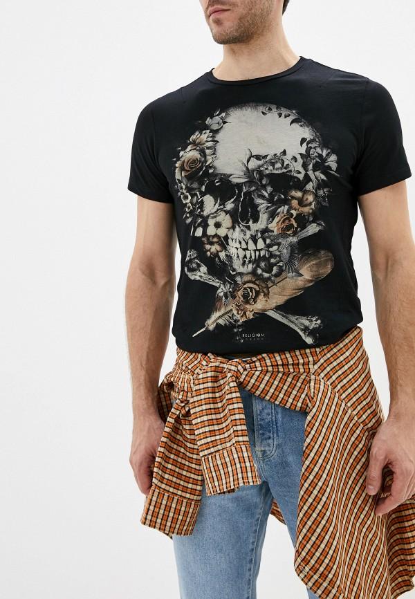 мужская футболка с коротким рукавом religion, черная