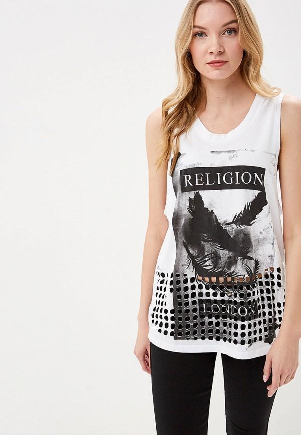 женская майка religion, белая