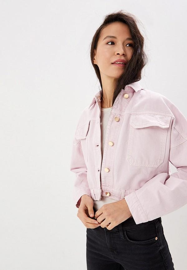 женская джинсовые куртка river island, розовая