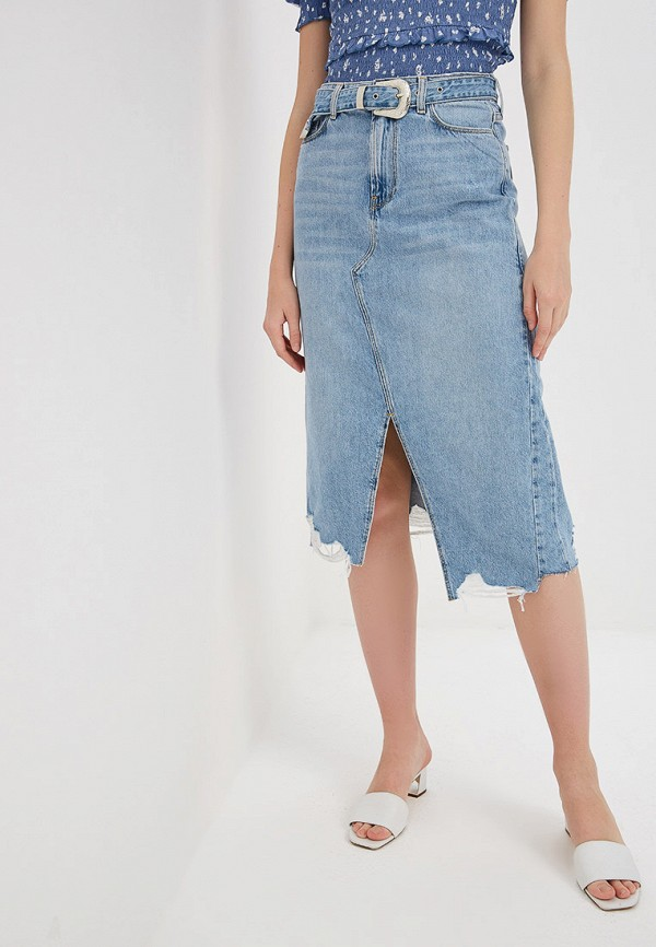 Фото - Юбку джинсовая River Island голубого цвета