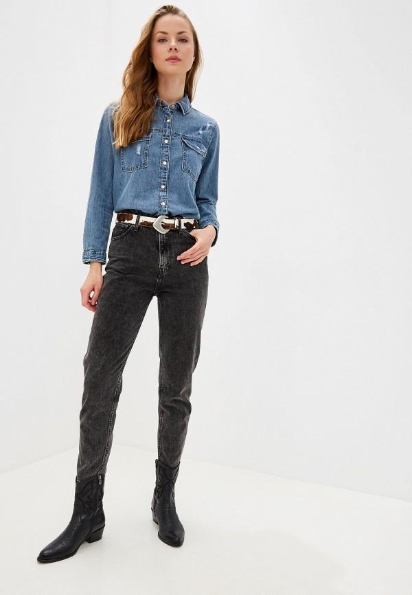 Фото 2 - Рубашку джинсовая River Island голубого цвета