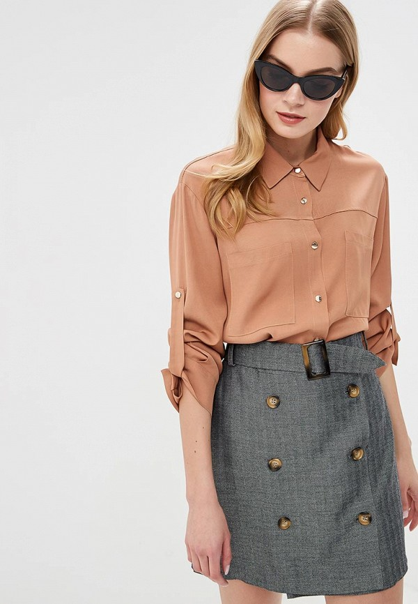 женская рубашка с длинным рукавом rinascimento, коричневая