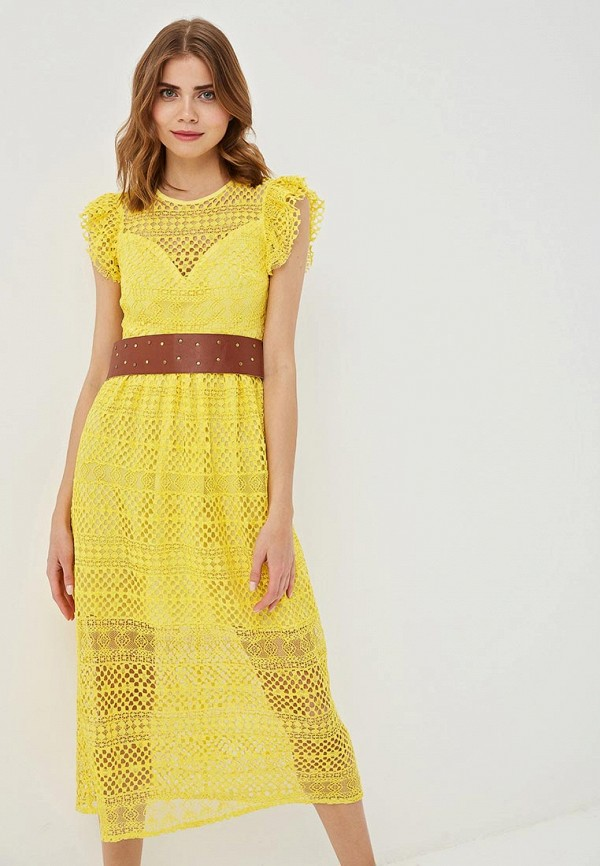 женское повседневные платье rinascimento, желтое