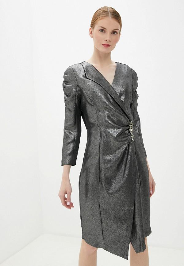 женское вечерние платье rinascimento, серебряное