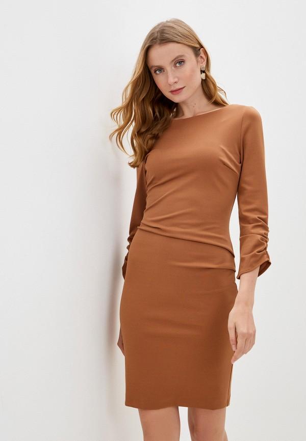 женское платье-футляр rinascimento, коричневое