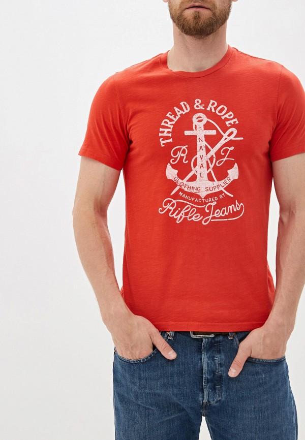 мужская футболка с коротким рукавом rifle, красная