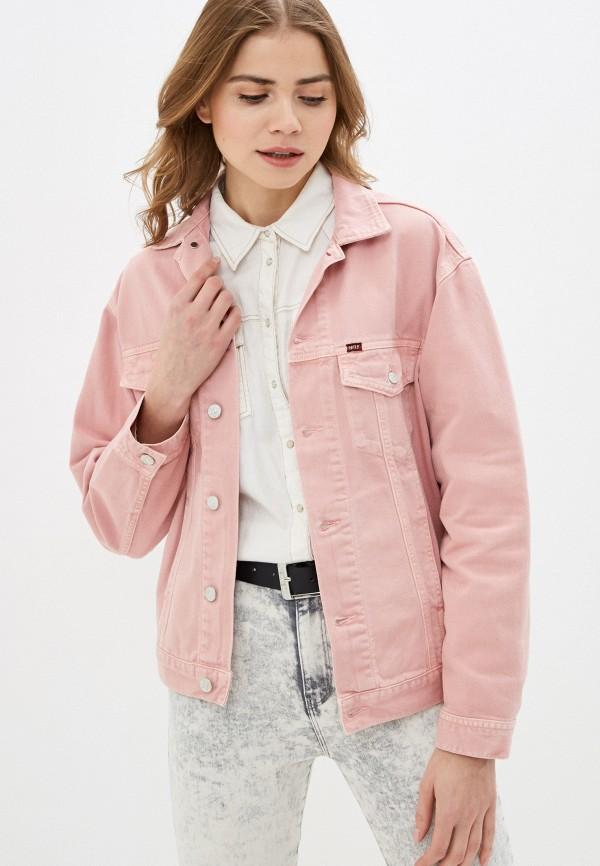 женская джинсовые куртка rifle, розовая