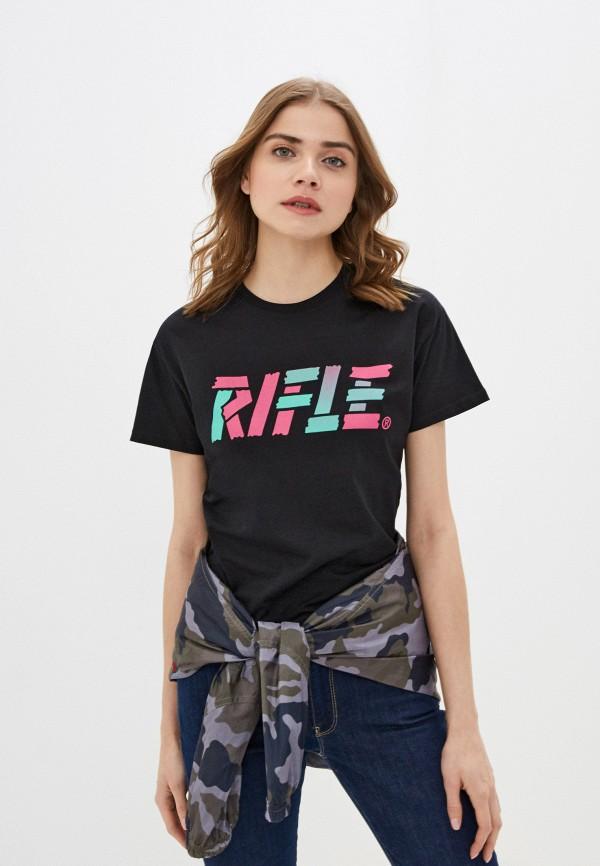 женская футболка rifle, черная