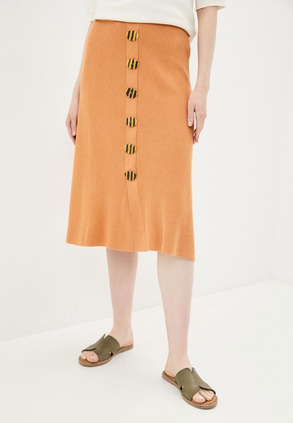 женская прямые юбка rodier, оранжевая